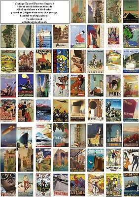 Vintage Travel Posters Series 3  -60 All Different A6 Art Cards