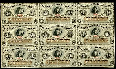 1869 Argentina 4 Reales Rare Uncut Sheet Of 9 Dog Notes