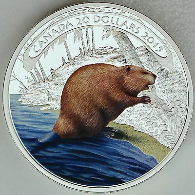 Canada 2015 $20 Beaver at Work, 1 oz. 99.99% Pure Silver Color Proof Coin
