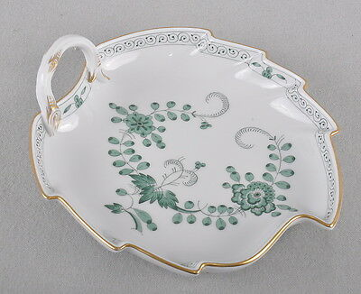 Meissen Indian Green, Indian Painting, Leaf Bowl Candy Dish Leaf