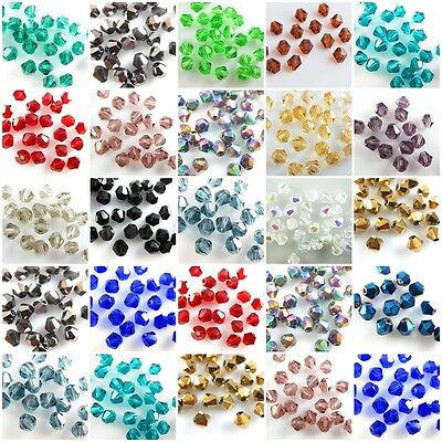 1000Pcs Faceted Bicone Crystal Glass Beads Jewelry Findings 4mm Loose Spacer