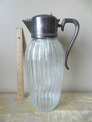 Vintage Heavy Ribbed Glass Pitcher Claret Silverplate Top Ice Cooler Tube