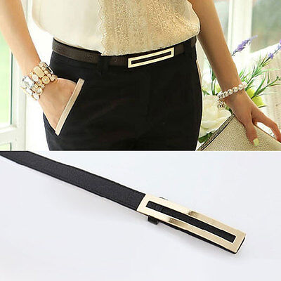 New Fashion Women's Lady Thin Narrow Skinny Waist Belt Waistband Hogskin Leather