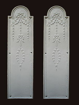 One Pair Of Ornate Decorative Resin White Door Finger Plates