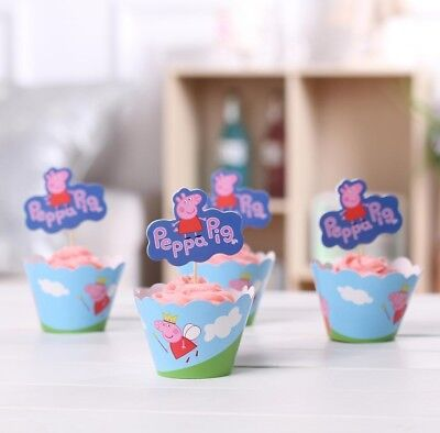Peppa Pig Cupcake Wrappers & Toppers Pack Of 12 Birthday Party Supplies