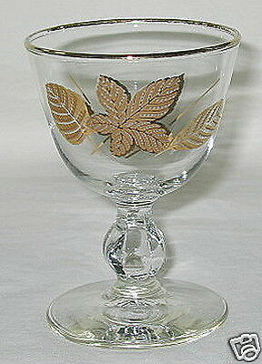 Libbey Golden Leaves Pattern Cordial Glass