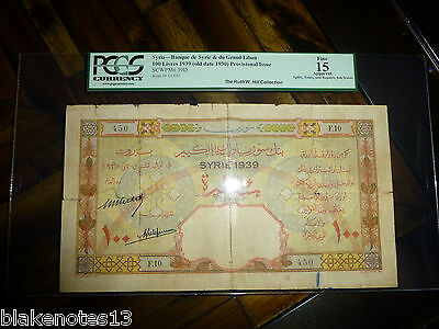 Syria P-39D 1939 1930 100 Livres Fine Liban Provisional Issue