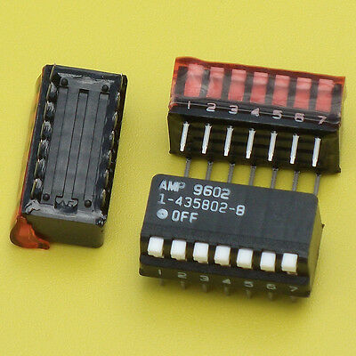 240× Amp 1-435802-8 7-Position Dip Switch 0.1A@5V Side/piano Black/white Dip-14†