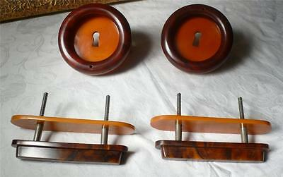 Set of 4 art deco bakelite TESTED and metal Pull handles knobs 240 grams(s10393)