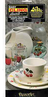 Decoart TRADITIONAL FRUIT Easy Cling Stencils Reusable For Glass, Tiles, Plastic