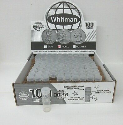 Box of 100 Whitman HE Harris Round Screw Top Coin Tubes Nickel 5 Cent 21mm