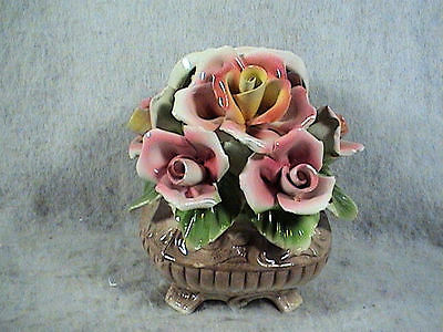 VINTAGE Capodimonte Italy Flower Basket Of Roses