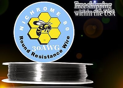Nichrome 80 30 Gauge AWG Round Wire 100ft Roll .254mm , 6.76 Ohms/ft Resistance
