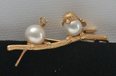 Lovely Vintage Bird Pin with Pearls, Diamond and 18k Gold