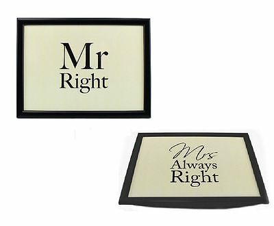 Mr Right & Mrs Always Right Bean Bag Base Padded Bed Serving Lap Tray Xmas Gift