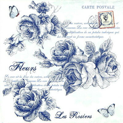 4x Single Table Party Paper Napkins for  Decoupage Craft, Vintage Blue Roses