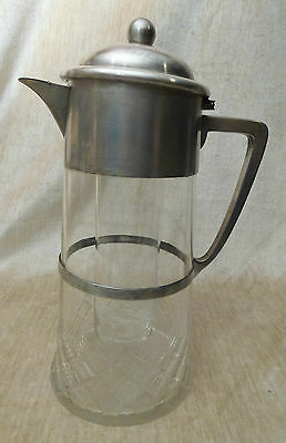 WMF Wuerttembergische Metalwaren Fabrik WMFN Silver-plated Cut Glass Pitcher Ice