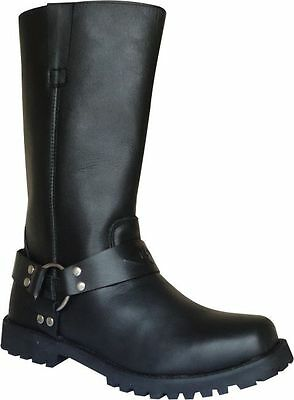 Classic Motorcycle Leather Harness Biker Boot Antislip Sole