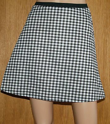 Brand New Primark GIRLS Black White Check SKATER mini skirt SIZE 7 - 13 years
