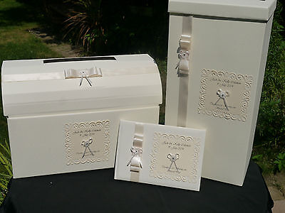 Wedding card post box & guest book, ribbon, daisy flower, ivory  & other colours