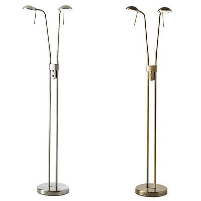 Endon Hammersmith Floor Standing Articulated Reading Lamp Dimmer Brass or Chrome