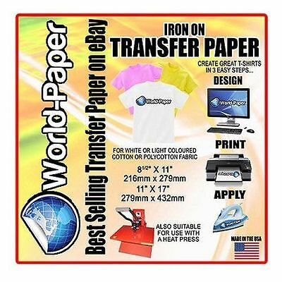 "T-Shirt Inkjet Iron On Heat Transfer paper 8.5"" x 11"" 5 Sheets Pack :)"