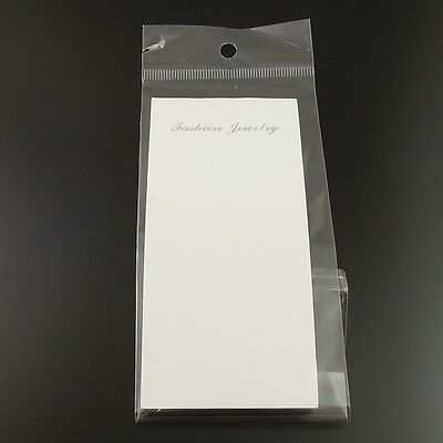 120PCS Paper White Jewelry Case Necklace Display Hanging Card With Bag 19.5*6 CM