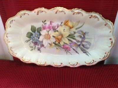 lime house studio england vintage china biscuit tray yellow with flower decor