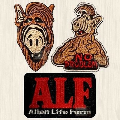 ALF Patches Set Alien Life Form Logo No Problem Face Gordon Tanner Embroidered