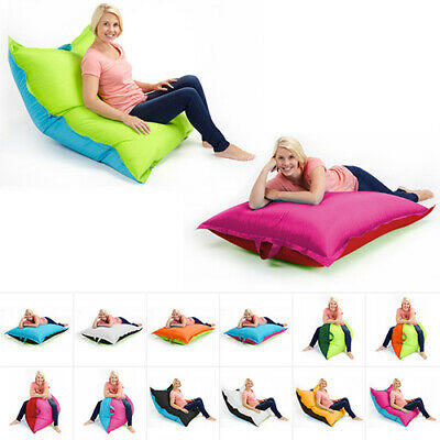 Two Tone Bean Bags Floor Cushion Large Water Resistant Indoor Outdoor Garden