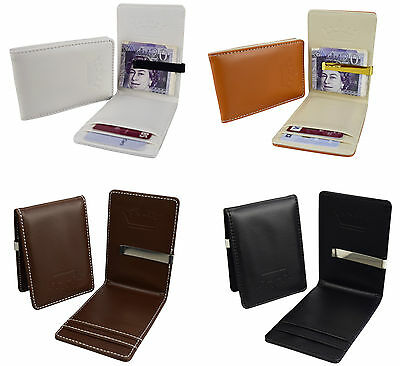 Mens Wallet Money Clip Card Holder ID Card Travel PU Leather Black Brown W100