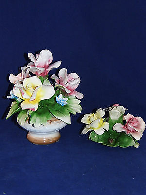 VINTAGE CAPODIMONTE CANDLE HOLDER & CENTERPIECE  HANDMADE HANDPAINTED  IN ITALY