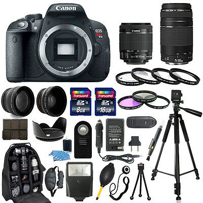 Canon Eos Rebel T5I Camera + 18-55mm stm + 75-300mm + 30 Piece Accessory Bundle
