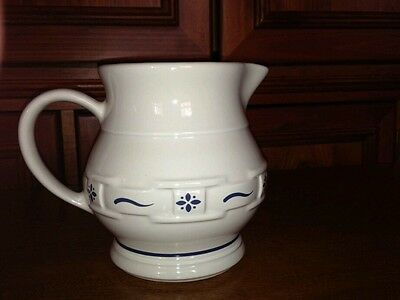 Longerberger small pitcher blue trim