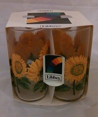 VINTAGE Libbey New in Box 4 Sunflower Cooler Glasses 17 OZ. NIB Made in USA