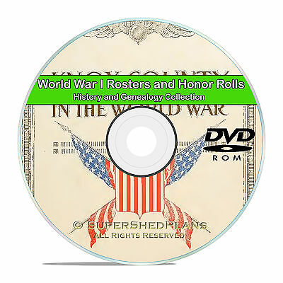 World War I WWI Rosters and Honor Rolls, Military Records -56 Books DVD CD V85