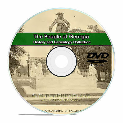 Georgia GA, Civil War, Family Tree History Genealogy -141 Books DVD CD B01