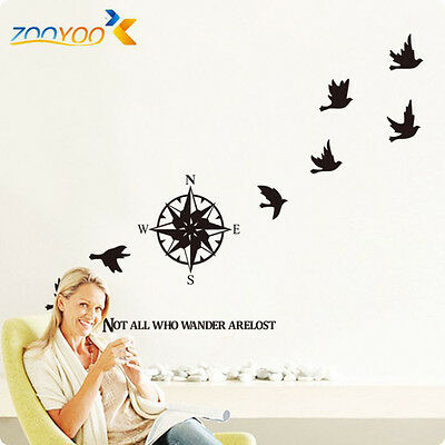 Black Migrant Brids Removable Decal Art Mural Home Decor Wall Stickers