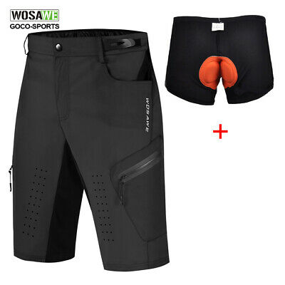 WOSAWE Men's Loose Bike Bicycle Shorts Detachable Padded MTB Cycling Pants S-2XL