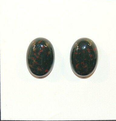 Bloodstone Cabochon 10x14mm with 4mm dome from India set of 2 (7971)