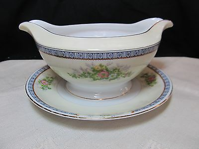 Meito China Cecil Gravy Boat with attached underplate VGUC