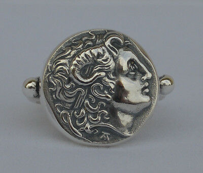 Alexander The Great Silver Ring Size Us 7- Ancient Greece Macedonia King