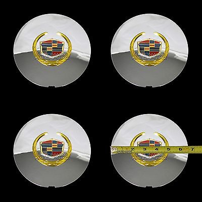 4 Cadillac Deville Dts Chrome Gold Wheel Center Hub Caps 5
