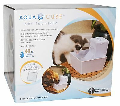 AQUA CUBE PET FOUNTAIN Dog Cat Drinking FRESH FILTERED WATER Free-Falling Stream