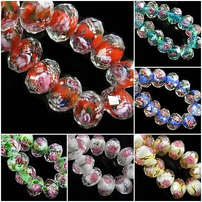 10mm Rondelle Faceted Glass Crystal Rose Flower Inside Lampwork Beads Spacer