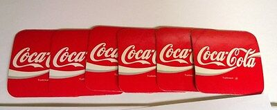 Coca Cola Vintage Cork Backed Red Square Coasters, Set of 6 Coasters