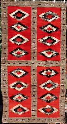 Vintage C. 1900 Navajo Indian Transitional Weaving Floating Serrated Diamonds