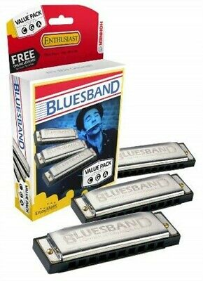 Hohner 3P1501BX Bluesband Harmonica, Pro Pack, Keys of C, G, and A Major