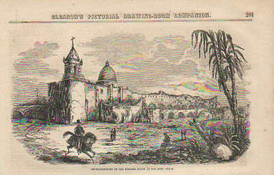 San Jose, Texas, Old Spanish Ruins, Mission, Vintage, 1852 Antique, Art, Print.