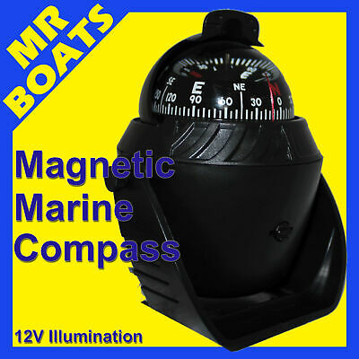 BOAT COMPASS ✱ BLACK ✱ 12v Illuminated LED Light CARAVAN MARINE TRUCKS FREE POST